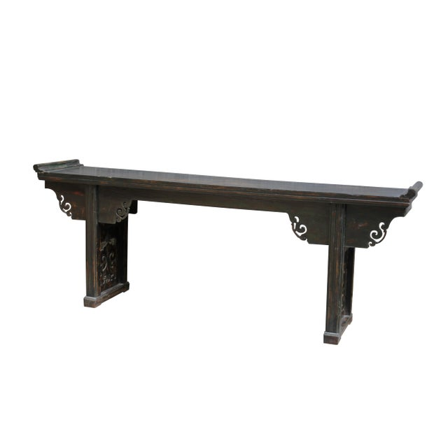 Antique Chinese Elm Altar Console Table For Sale - Image 4 of 10