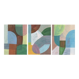 """""""Triptych Mind Map 2"""" Contemporary Organic Modern Paintings - Set of 3 For Sale"""