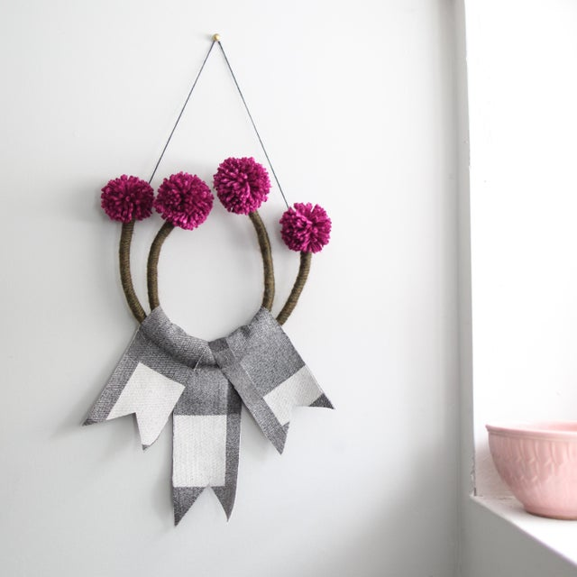 Boho Chic Mandi Smethells Floral Fiber Art For Sale - Image 3 of 3