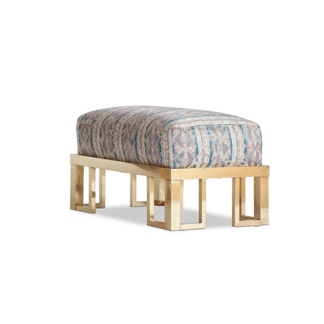 Willy Rizzo Lounge Chair and Ottoman with Brass Frame For Sale - Image 10 of 11