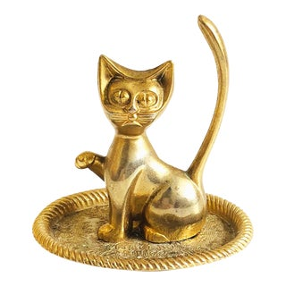 Vintage Brass Cat Ring Dish For Sale