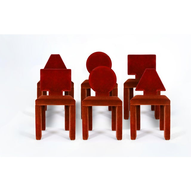 Wood Contemporary Dining Chairs in Crimson Cotton Velvet - Set of 6 For Sale - Image 7 of 7