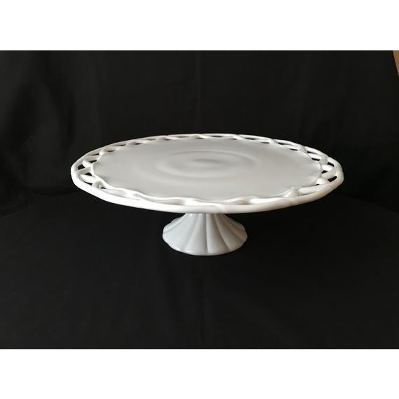 1950s Pitman-Drietzer Colony Lace Edge Milk Glass Cake Stand For Sale - Image 10 of 11
