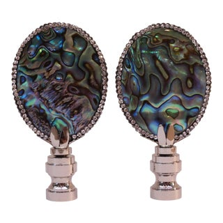 Swarovski Crystal Trimmed Abalone Shell Finials by C. Damien Fox, a Pair. For Sale
