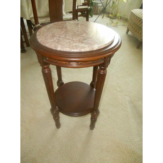 Vintage Rose Marble Top Pedestal Table - Image 2 of 5