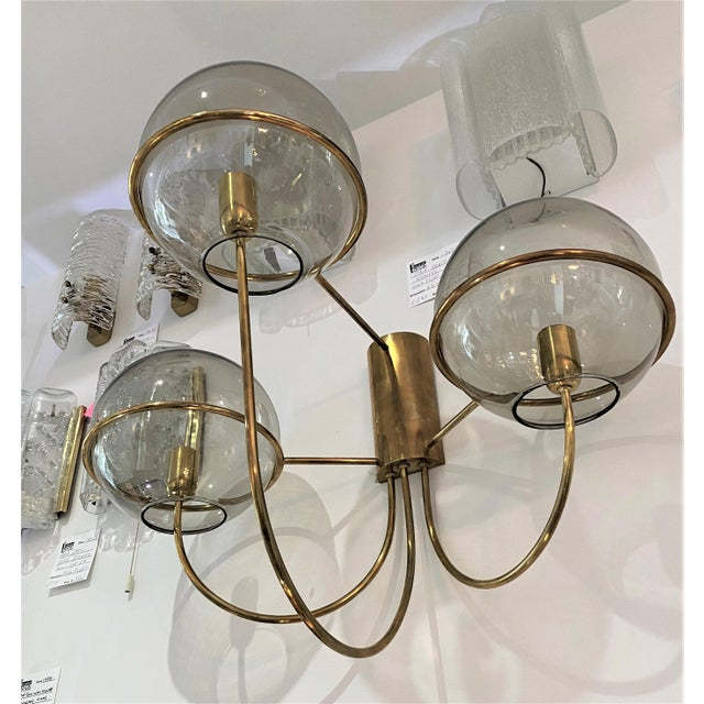 Mid-Century Modern Vico Magistretti Style Brass and Smoke Glass Sconces - a Pair For Sale - Image 9 of 12