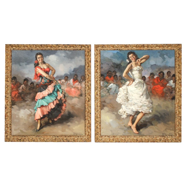 Francesco Rodriguez San Clemente Framed Oil Paintings - a Pair For Sale In Dallas - Image 6 of 6