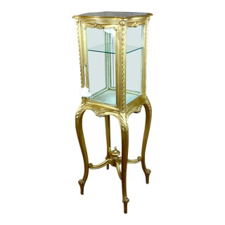 Louis XVI Beautiful Minimal French Gilt Wood Vitrine on Stands