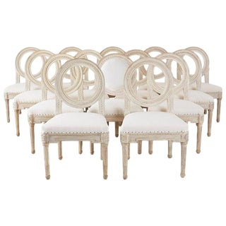 Set of 14 Louis XVI Gustavian Style Dining Chairs For Sale