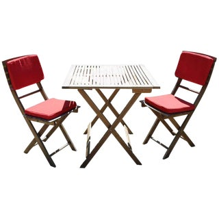 Vintage French Teak Bistro Indoor/Outdoor Folding Table and Chairs