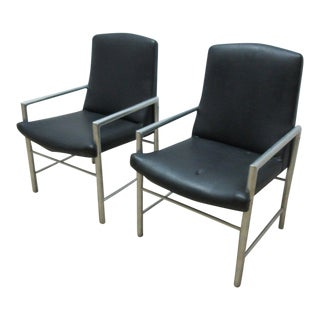 Mid-Century Aluminum Tubular Arm Club Chairs - A Pair