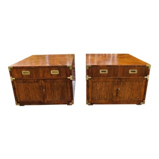 Vintage Campaign Henredon End Tables - a Pair For Sale