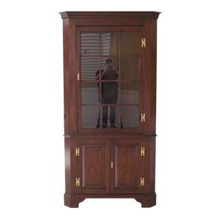 1970s Vintage Henkel Harris Mahogany Corner Cabinet For Sale