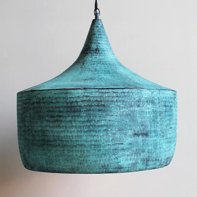 Green Copper Hammered Hat Lantern For Sale - Image 4 of 4