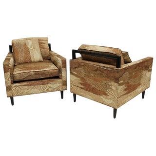 Mid Century Modern Harvey Probber Lenor Larsen Fabric Club Chairs- A Pair For Sale