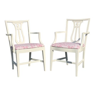 Vintage Mid Century White Neoclassical Lyre Back Armchairs- A Pair For Sale