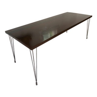 Modern Walnut and Black Stripe Dining Table For Sale