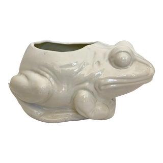 1970s Vintage White Ceramic Frog Planter For Sale