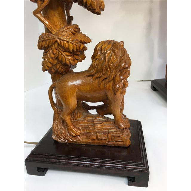 Carved Wood Lion Table Lamps - A Pair - Image 5 of 11