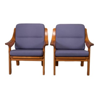 Armchairs With Finger Joint Arms by Pj Danmark- A Pair For Sale