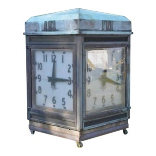 Over Sized Antique Bank Four-Sided Outside Clock