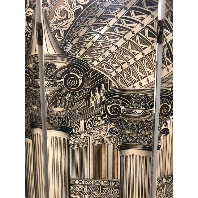 Hollywood Regency Modern Architectural 6 Panel Screen For Sale - Image 3 of 6
