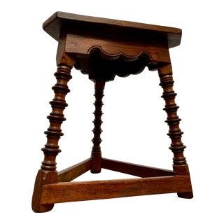 Antique Tri-Pod Walnut Side Table For Sale
