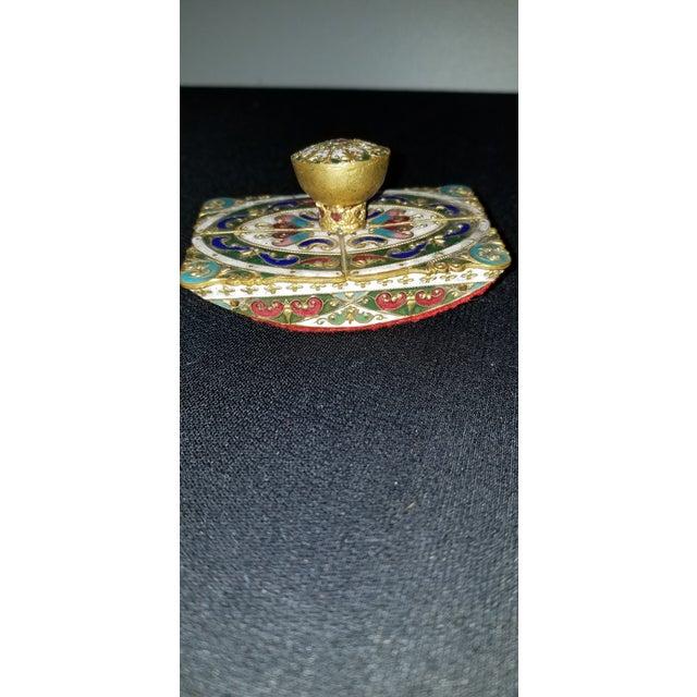 Victorian Vintage Cloisonne Ink Blotter For Sale - Image 3 of 8