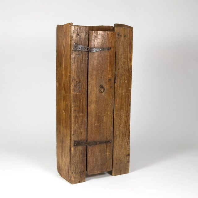 Metal Very Rustic Italian Chestnut Single Door Cabinet With Wrought Iron Hinges, Circa 1720. For Sale - Image 7 of 13