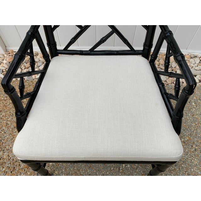 Wood Jonathan Adler Black Lacquered Faux Bamboo Chippendale Chairs, Pair For Sale - Image 7 of 13