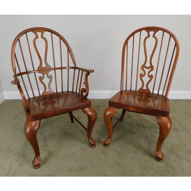Early 21st Century Bob Timberlake Lexington Furniture Set 4 Cherry Windsor Dining Chairs For Sale - Image 5 of 13