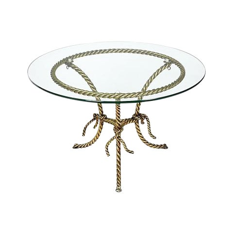 Hollywood Regency Gilt Rope and Glass Top Occasional Table - Image 1 of 4