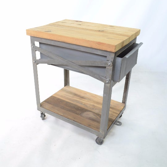 Two industrial side tables with reclaimed wood tabletops and carbon steel painted frames on metal castors each having one...
