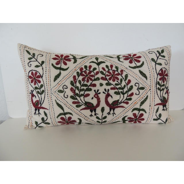 Vintage Indian Colorful Floral Embroidered Decorative Bolster Pillow For Sale - Image 4 of 4