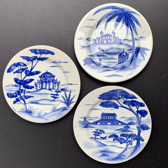 Blue Hand-Painted Italian Ceramic Blue and White Plates - Set of 3 For Sale - Image 8 of 12