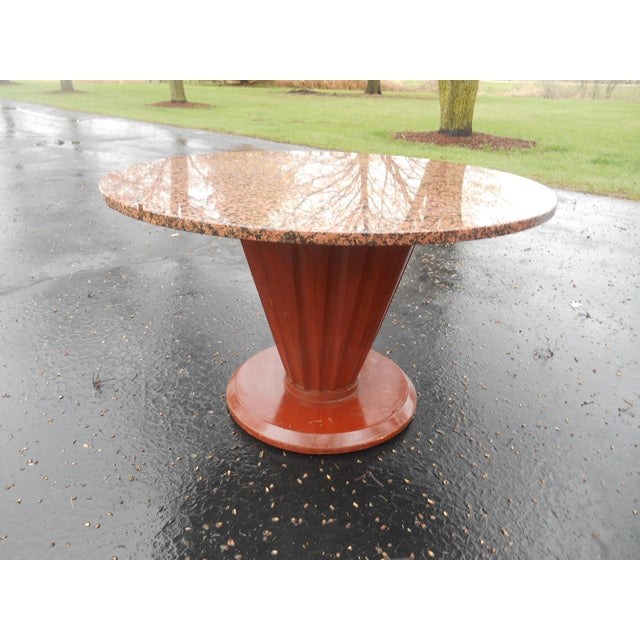Stone 20th Century French Art Deco Round Marble Top Coffee/Cocktail Table For Sale - Image 7 of 7