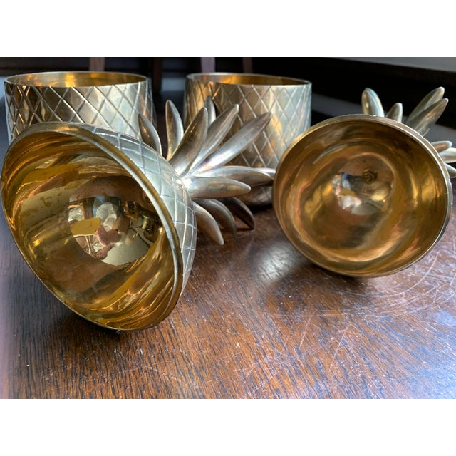 Gold 1960s Vintage Solid Brass Lidded Pineapple Containers - A Pair For Sale - Image 8 of 10