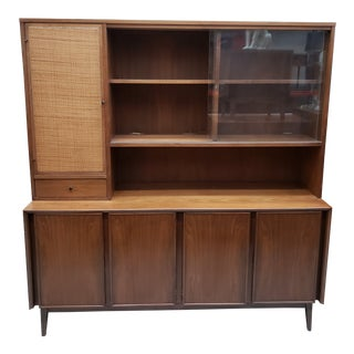 American of Martinsville Mid-Century Modern Walnut Two Piece China Hutch For Sale