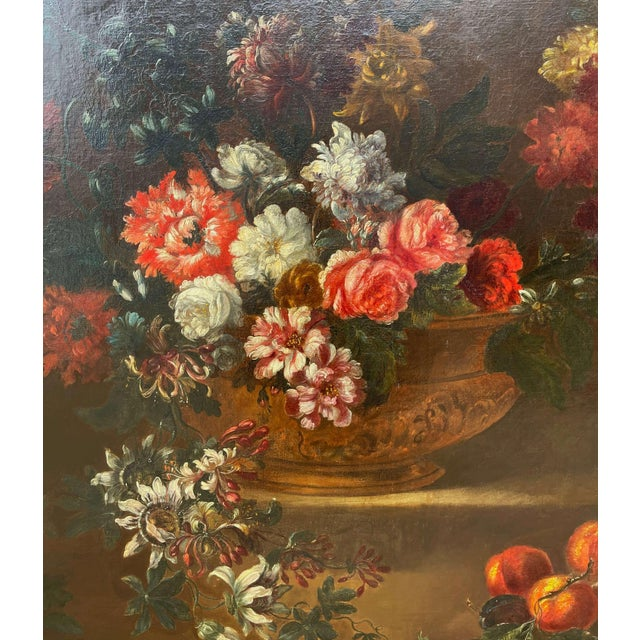 19th Century French Still Life Flower Oil Painting in Carved Gilt Frame For Sale - Image 4 of 13