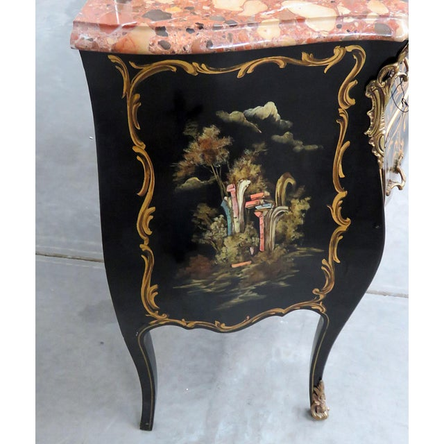 Marble Louis XV Style Chinoiserie Marble Top Bombe Commode For Sale - Image 7 of 10