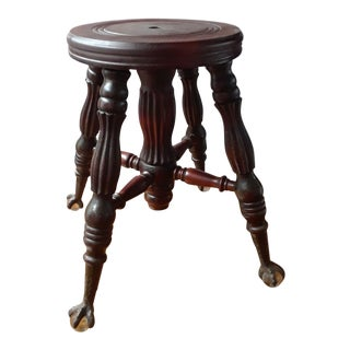 Antique Piano Stool With Claw and Ball Crystal Feet