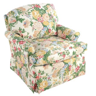 Floral Club Chair - New Upholstery (Vintage Fabric) For Sale