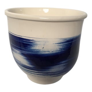 Blue & White Brushstroke Pot