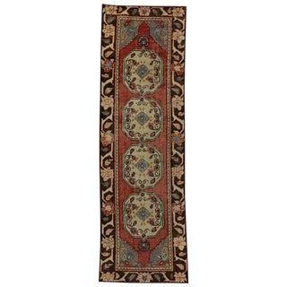 Vintage Turkish Oushak Traditional Style Hallway Runner Rug - 2′11″ × 9′5″ For Sale