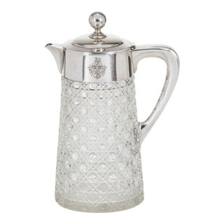Claret Jug Pitcher, 800 German Sterling Silver And Crystal For Sale