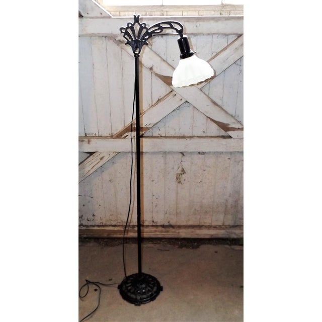 Antique Iron Bridge Floor Lamp & Milk Glass Shade - Image 2 of 9