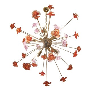 Murano Glass Flowers Chandelier For Sale