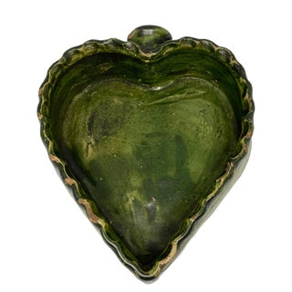 Mid 19th Century Green Glaze Redware Folk Art Pottery Heart Dish For Sale