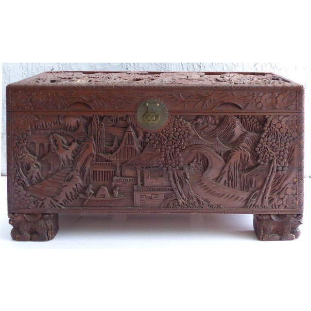 Chinese Teak & Cedar Carved Chest For Sale - Image 13 of 13