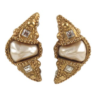 Alexis Lahellec Paris Clip-On Earrings Gilt Resin Crescent and Pearl For Sale